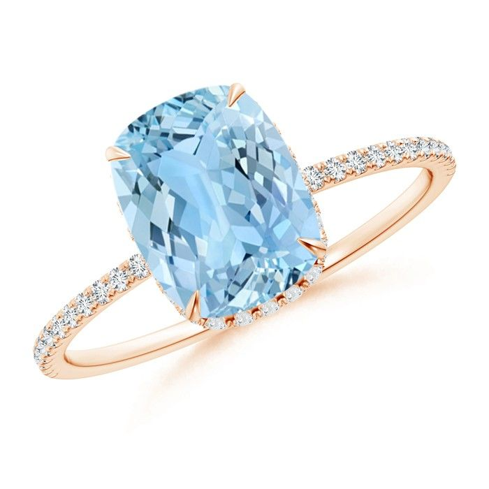 Angara Trillion Aquamarine Solitaire Ring with Diamond Accents O1NLZA8xF
