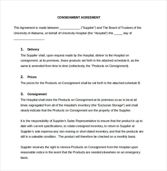 14 Consignment Agreement Templates