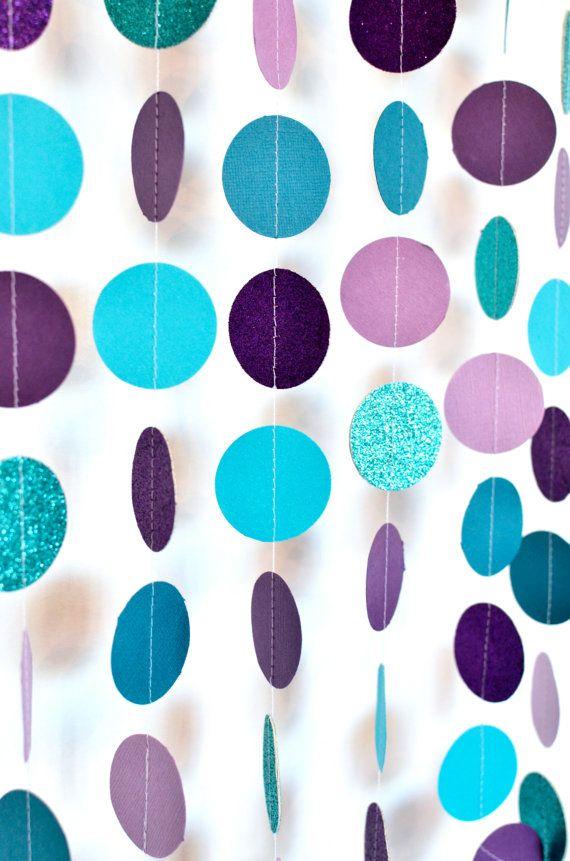 Aqua and Purple 10ft Paper Garland Birthday Party Decor Wedding