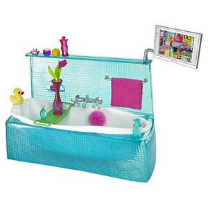 barbie my house blue bathtub with accessories set barbie dream home furniture pinterest. Black Bedroom Furniture Sets. Home Design Ideas