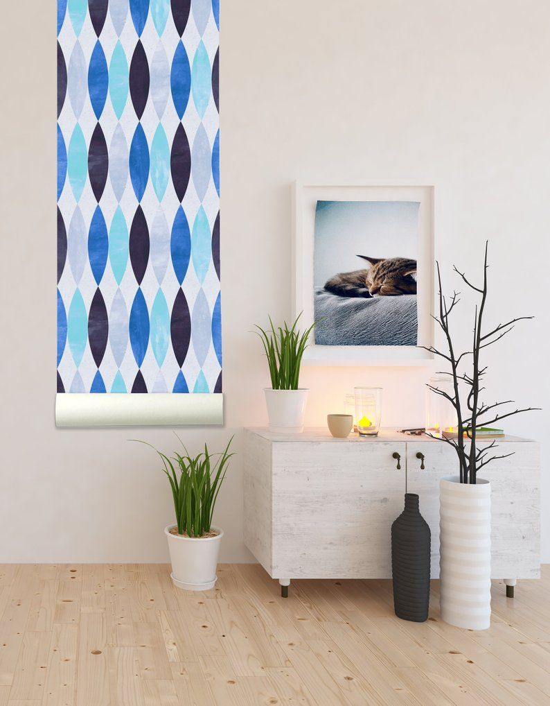 Scandinavian Pattern Blue Removable Wallpaper Peel And Stick Etsy Removable Wallpaper Wall Wallpaper Scandinavian Pattern
