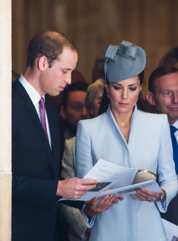 Prince William, Duke of Cambridge and Catherine, Duchess of Cambridge leave St Andrew's Cathedral following a 2014 Easter Sunday Service in Sydney, Australia