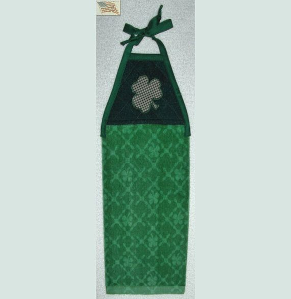 Lovely Kitchen Towel Quilted Top With Ties Shamrocks By CUTESTUFF1