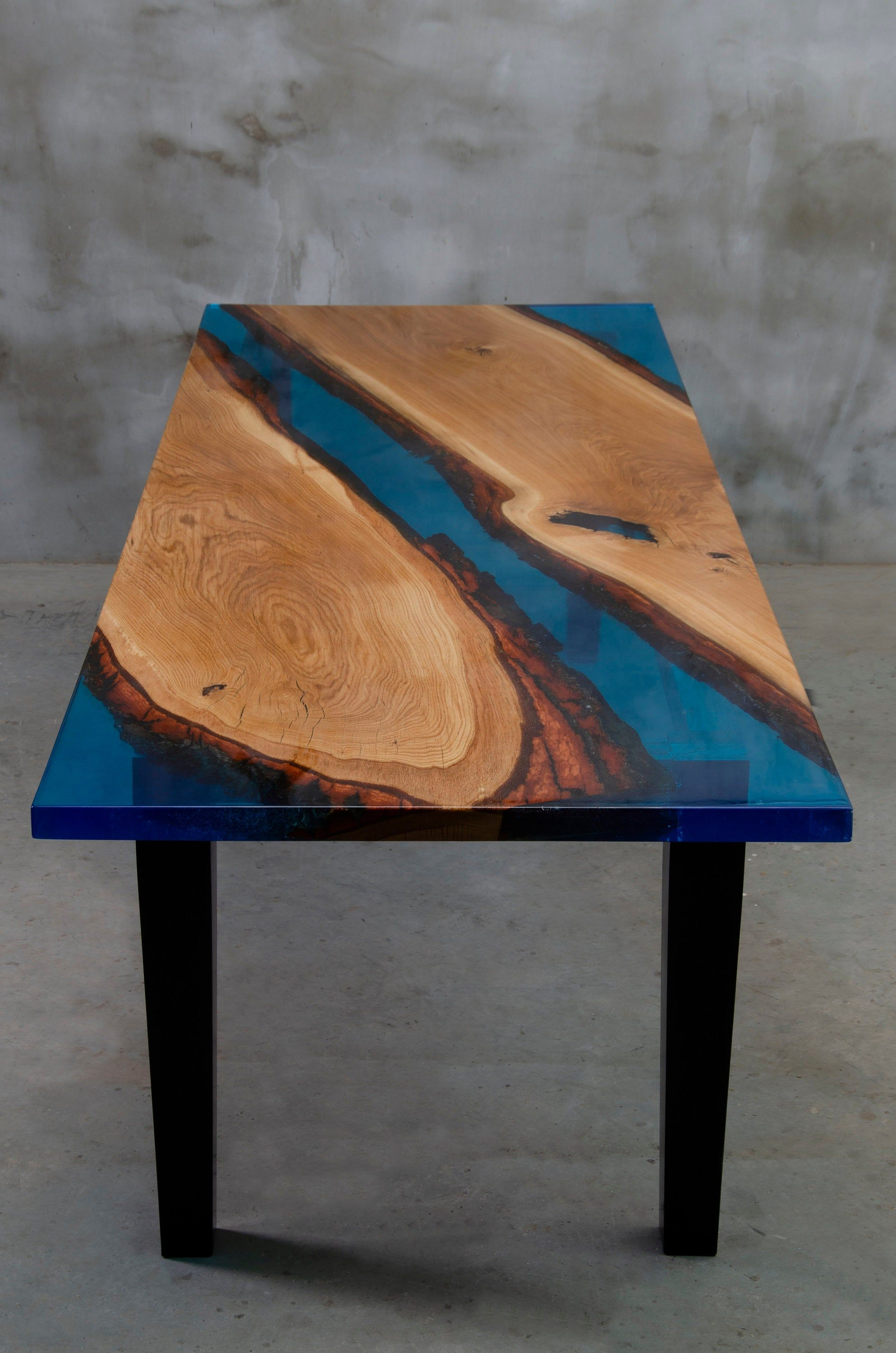 Custom Epoxy Resin Table Made Of Aok Wood Wooden Dining Table With Blue Resin Big Family Epoxy Table Rive Resin Table Epoxy Resin Table Wooden Dining Tables [ 3000 x 1987 Pixel ]