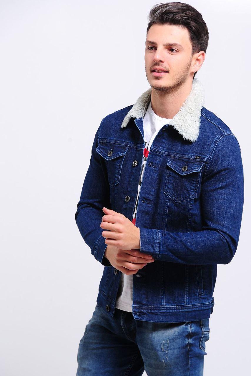 Yakasi Kurklu Mavi Kot Ceket Giyim Indirim Kampanya Bayan Erkek Bluz Gomlek Trenckot Hirka Etek Yelek Mont Kase Kaban Kot Ceket Erkek Kot Moda