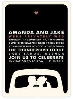 Elopement Announcement Wording Private Ceremony Second Reception Invitation Courthouse Wedding