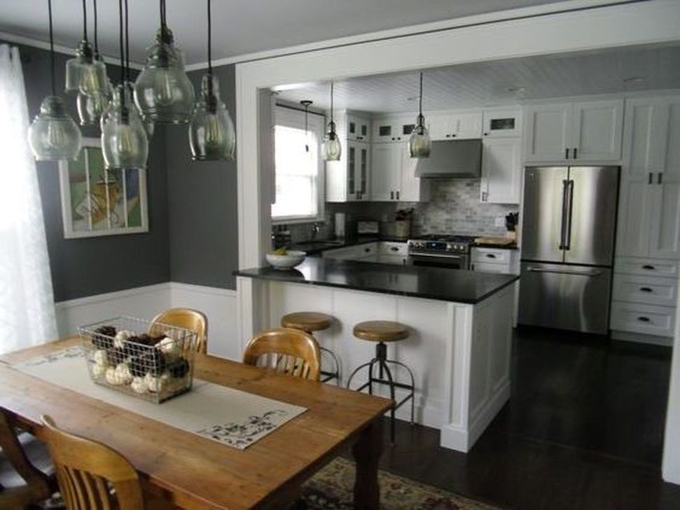 minimalst open concept kitchen and dining room design