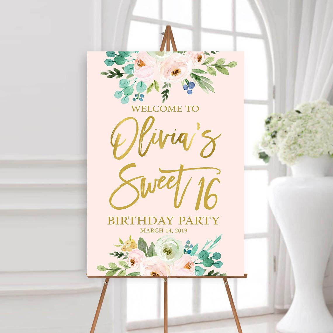 Sweet 16 Birthday Welcome Sign Printable Sweet Sixteen Party Sign Large Welcome Poster You P Sweet Sixteen Parties Sweet 16 Birthday Sweet 16 Party Planning