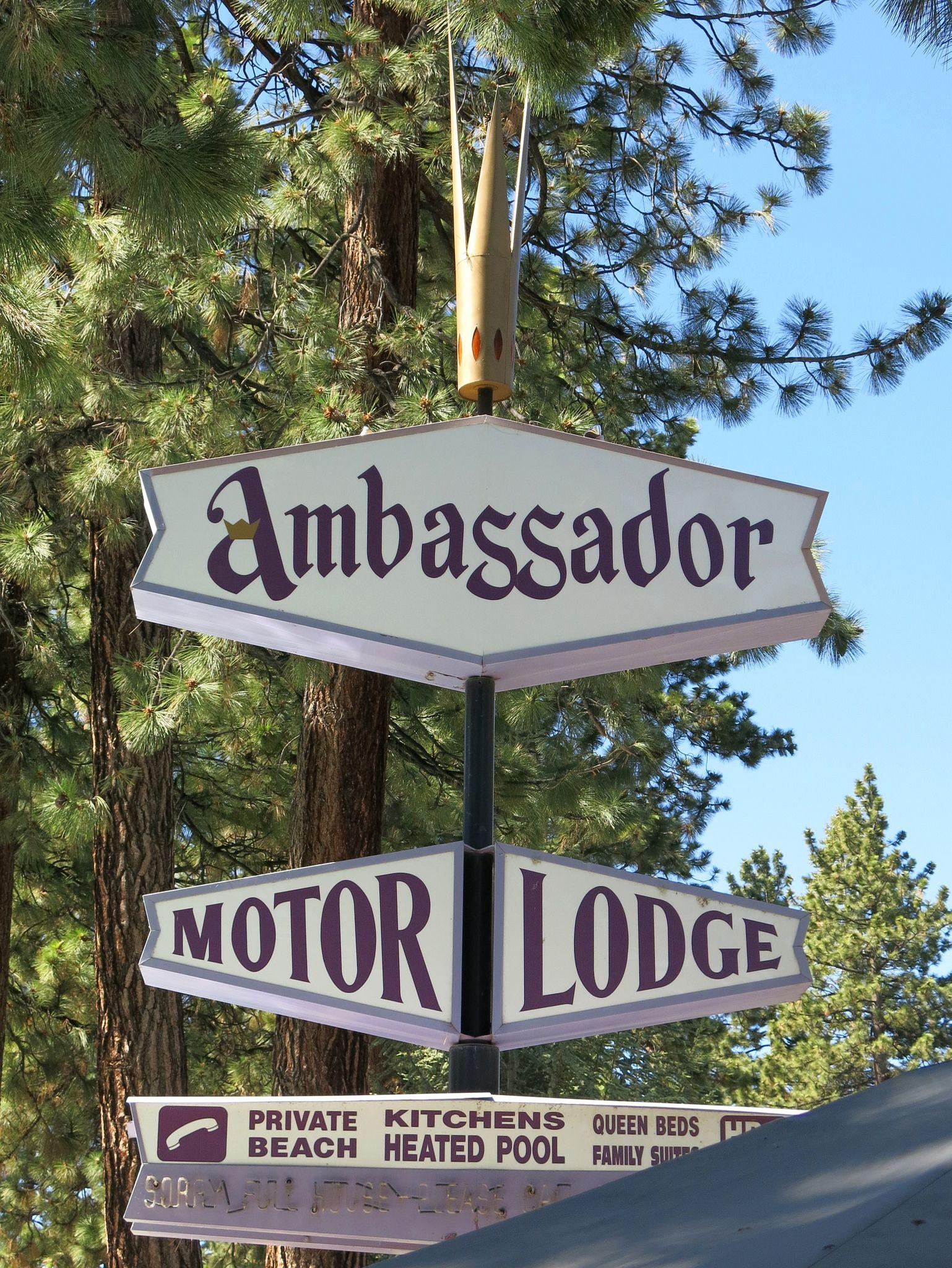 Ambassador motor lodge sign south lake tahoe ca south