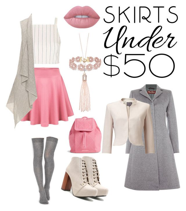 """""""Skirts Under $50"""" by tammygomezxd ❤ liked on Polyvore featuring ASOS, Topshop, Qupid, MaxMara, Phase Eight, Vera Bradley, BaubleBar, Oasis, Lime Crime and under50"""