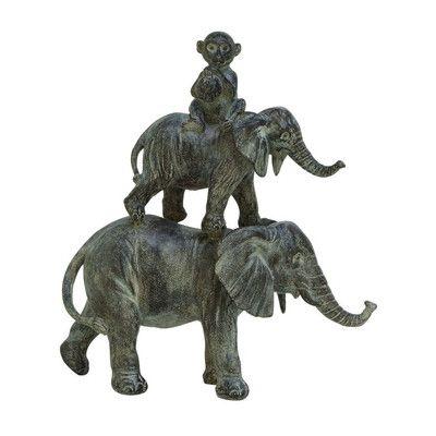 Cole & Grey Polystone Stacked Animals Figurine