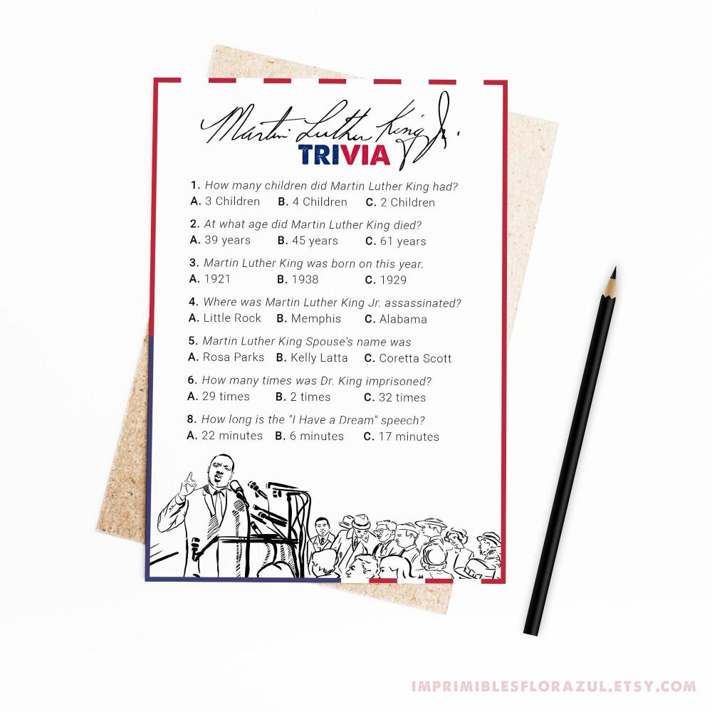 Martin Luther King Trivia Game Printable Activity MLK Jr