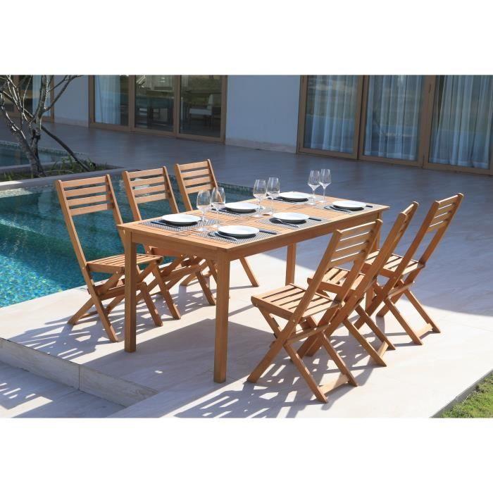 Ensemble Repas De Jardin 6 Personnes Table 180x80cm Et 6 Chaises
