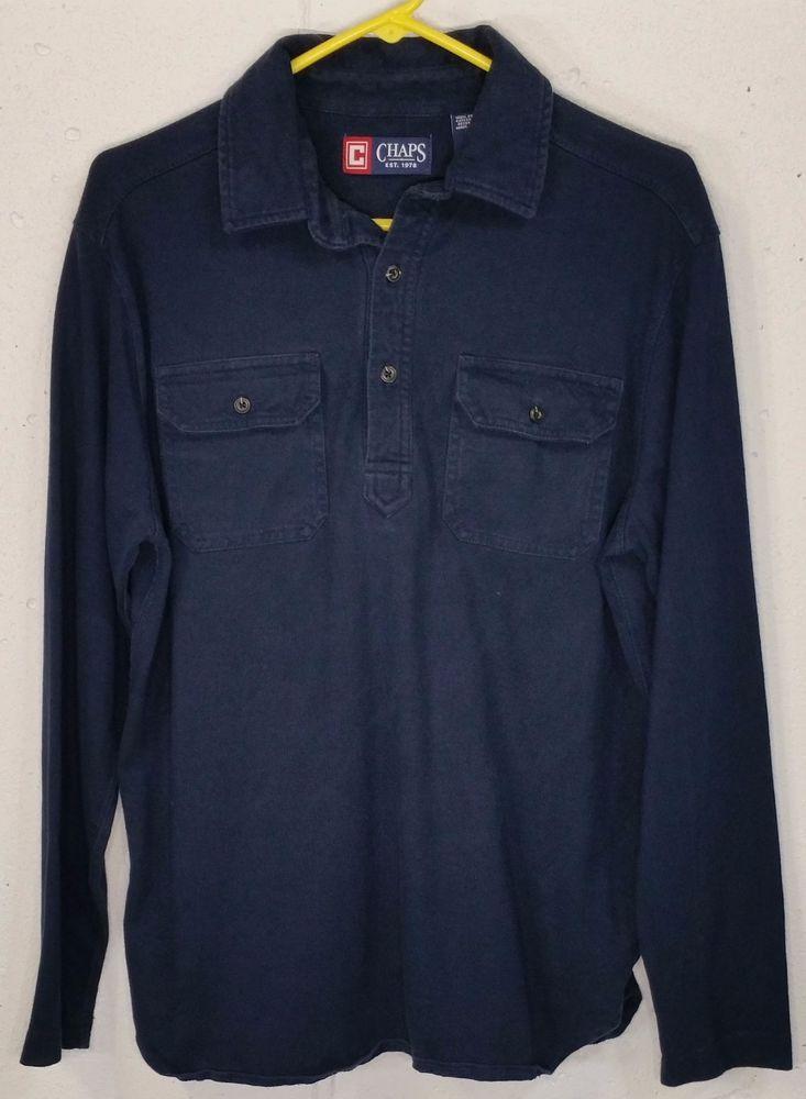 08220e234 Chaps Ralph Lauren Mens Blue Cotton Long Sleeve Button Pocket Polo Shirt  Medium  Chaps  PoloRugby