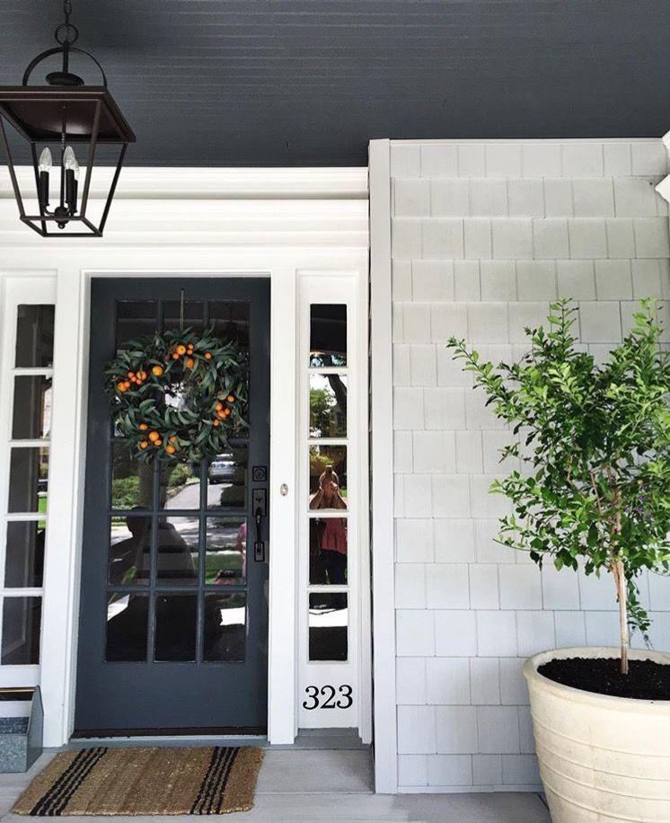 Porch Ceiling Painted Black Light Grey Siding House Exterior