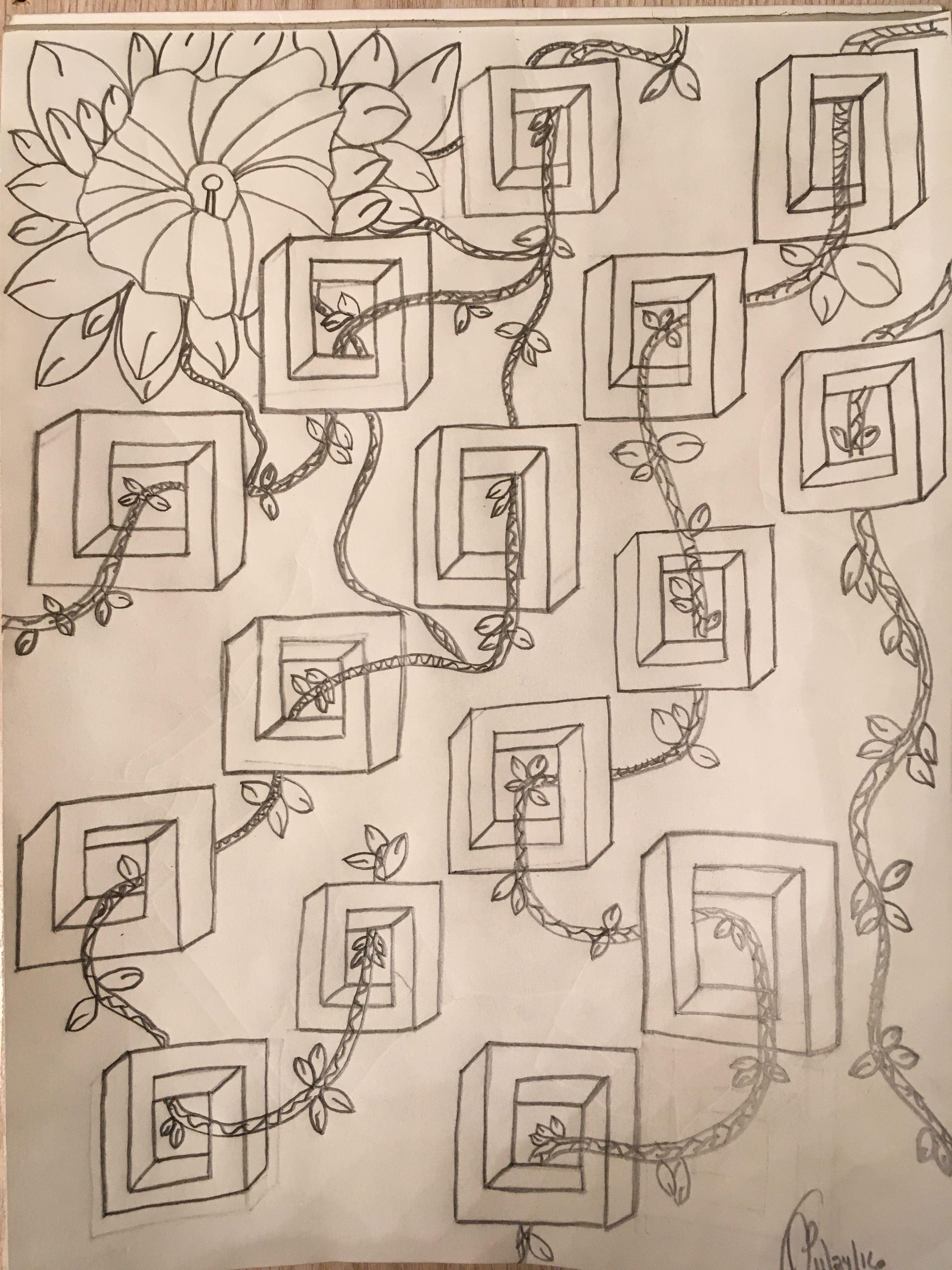 Pencil Sketch Flower Vines