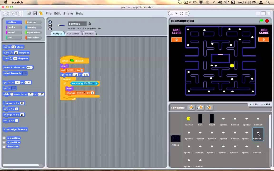 Full PacMan Game Scratch Part2 | Computer Science for Kids:MIT ...