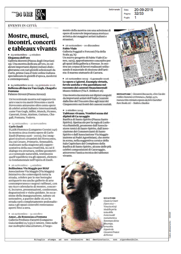 Il sole 24 Ore Settembre 2015 Carlo Zauli at Flair Florence  www.flair.it