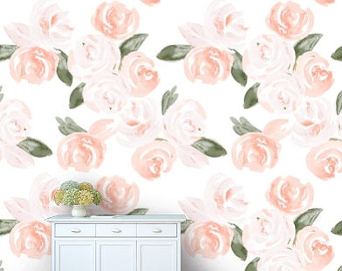 Floral Wallpaper Coral And Navy Gold Removable Wallpaper Peel