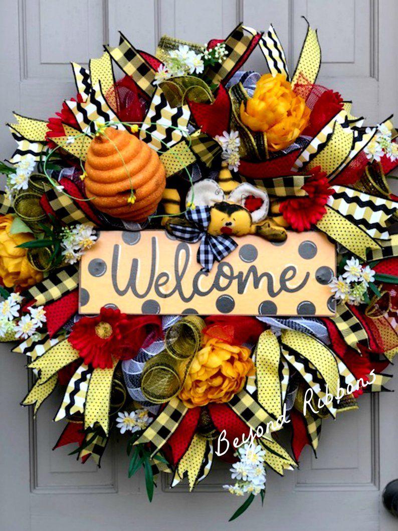 Photo of Bumble Bee Deco Mesh Wreath, Bee Wreath, Summer Wreath, Spring Wreath, Deco Mesh Wreath, Whimsical Wreath, Front Door Wreath, Floral Wreath
