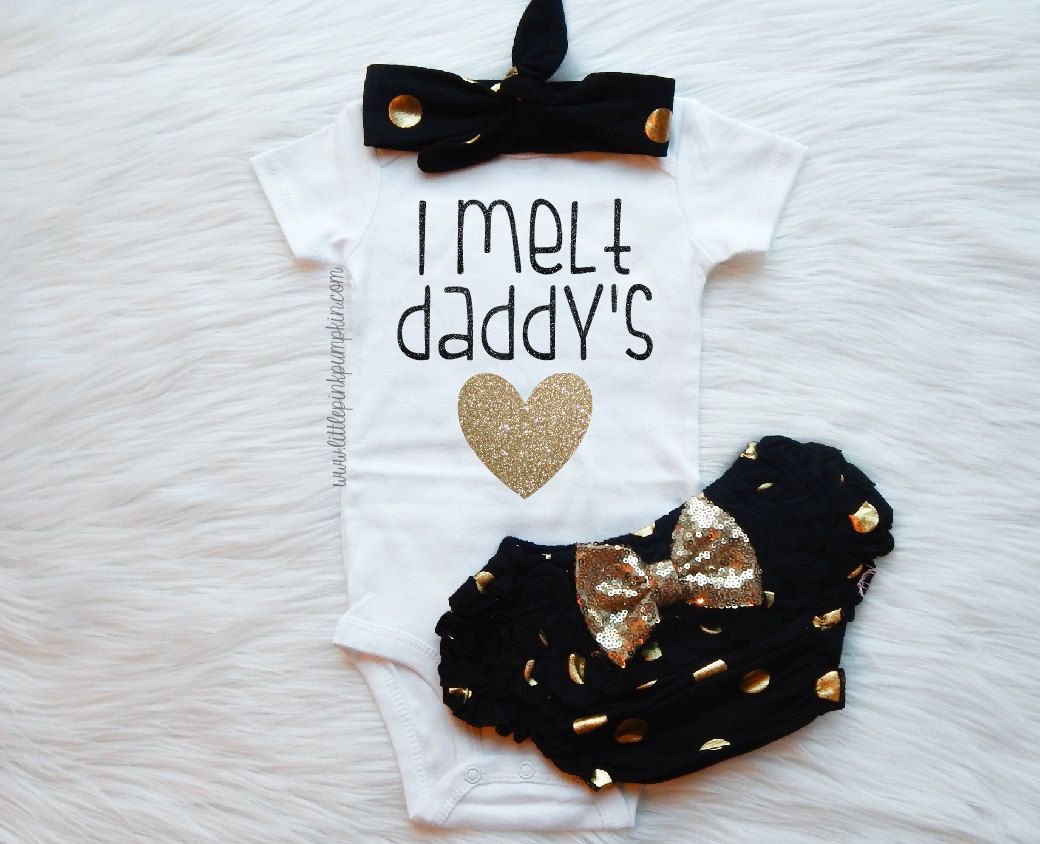 Baby Girl Clothes, I melt daddy's heart bodysuit, Optional Bloomer Set, Hospital Outfit, Coming home outfit, Daddy's Girl, Daddy Daughter by LittlePinkPumpkin on Etsy