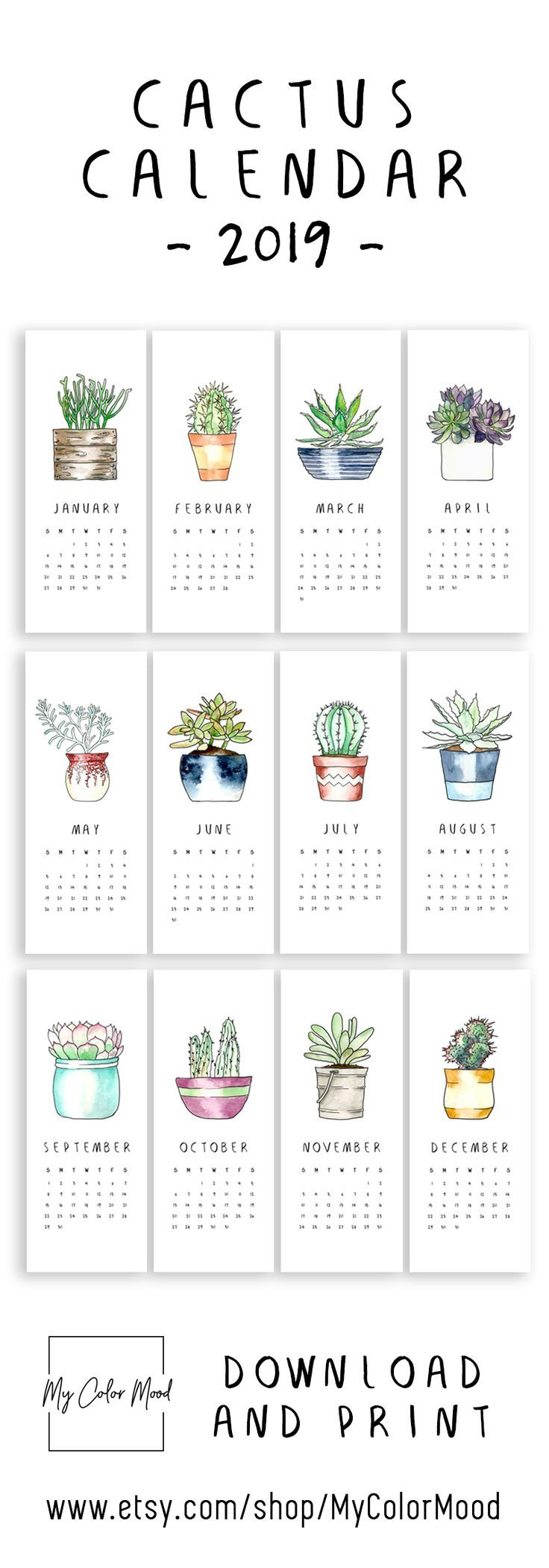 Printable calendar pages 2019, Small monthly calendar 2019 printable, Hanging cactus calendar, Succulent calender 2019, Cute office calendar