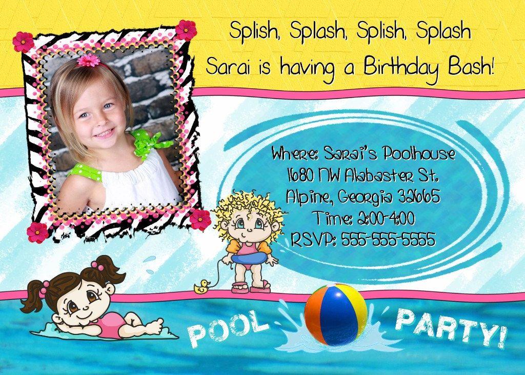 POOL Party Invitation Swimming Photo Boys Girls Birthday Party Theme - birthday invitation pool party