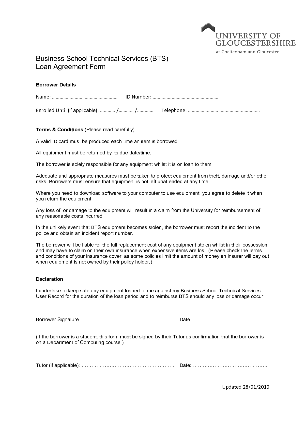 Printable Sample Loan Agreement Form Form  Storage  Organization