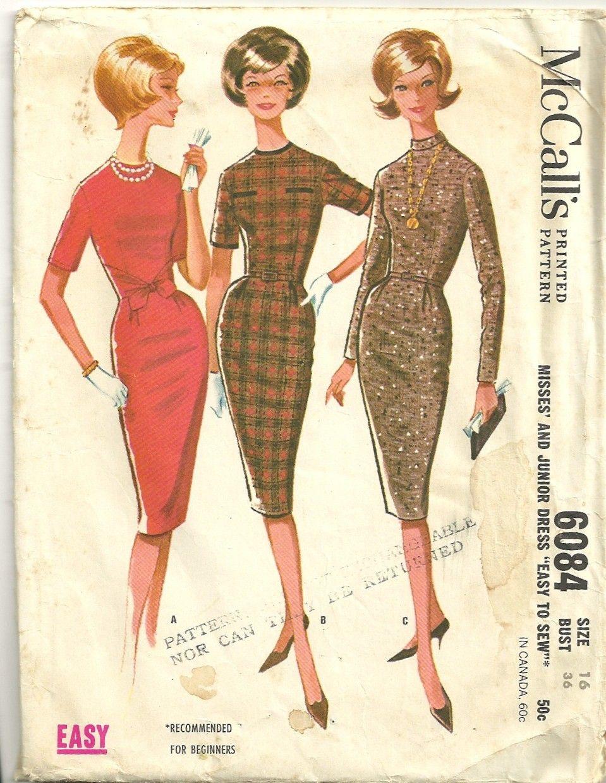 S mccalls misses slim dress pattern front ties jewel