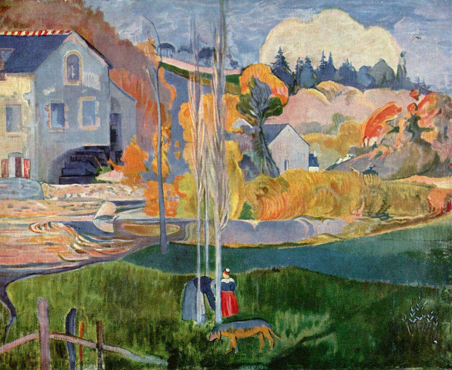 file paul gauguin paysage de bretagne le moulin david folk art painting. Black Bedroom Furniture Sets. Home Design Ideas