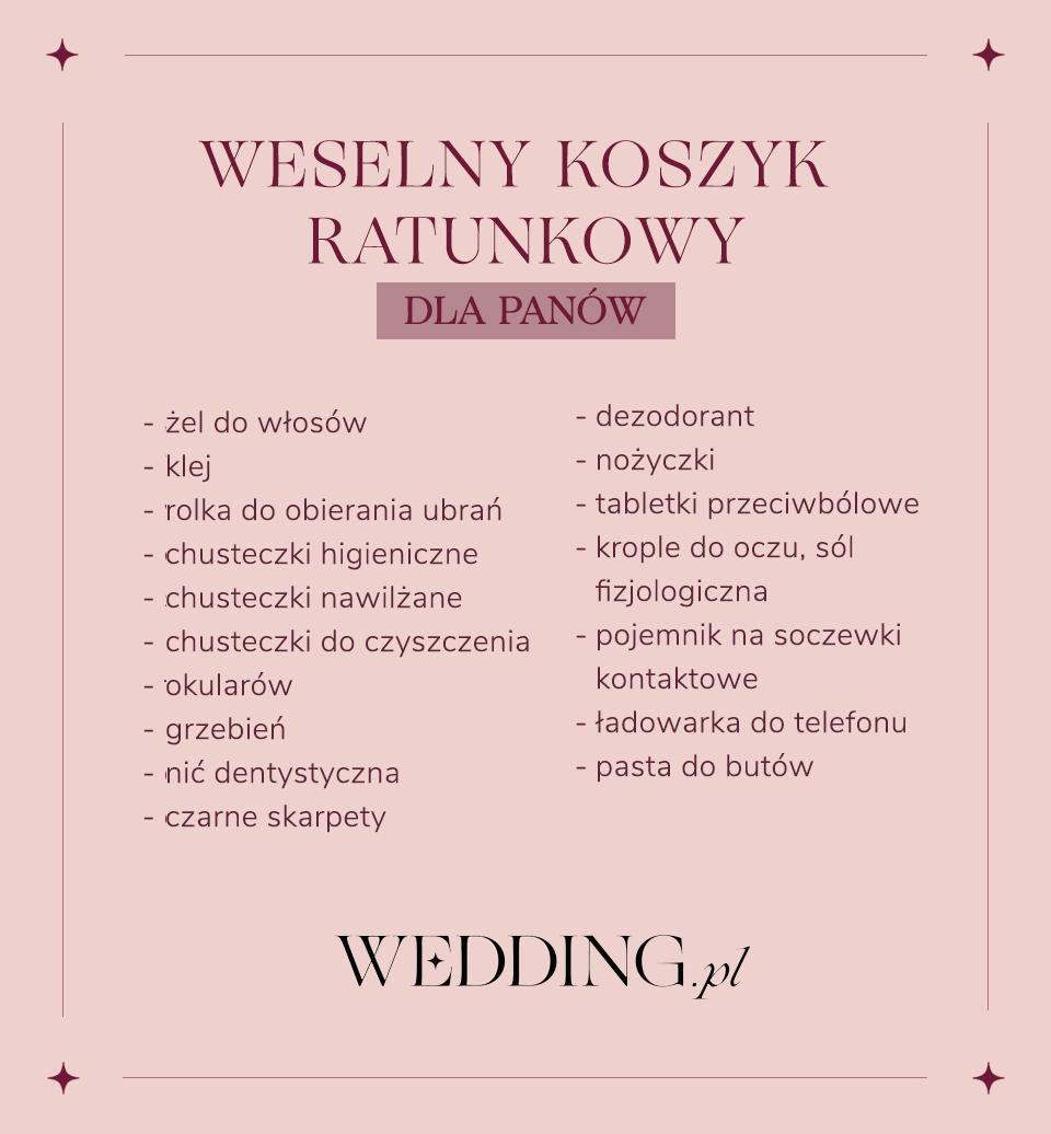 Weselny Koszyk Ratunkowy Dla Gosci Lista Rzeczy Dla Pan I Panow Wedding Emergency Kit Wedding Mood Board Wedding Organization