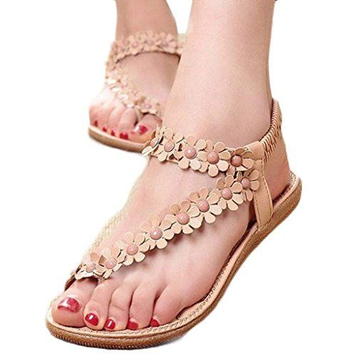 Women Sandals Bohemia Beaded Clip Toe Summer Flat Thong Shoes