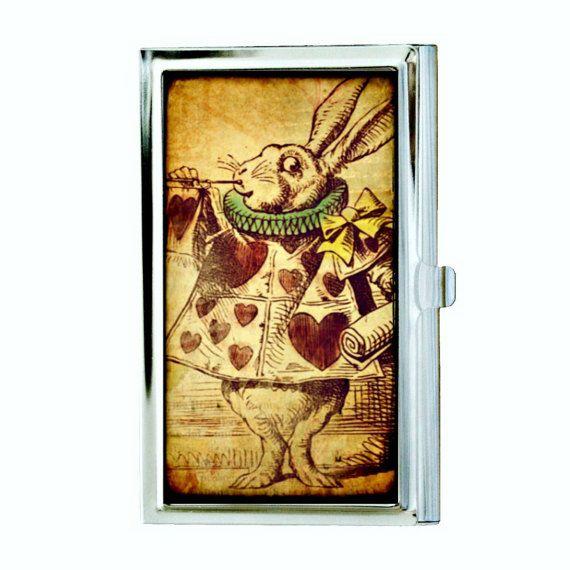 Alice in Wonderland Rabbit Business Card Case by hardweardesigns