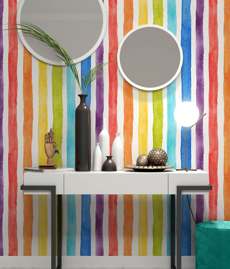 Watercolor Multicolor Bright Rainbow Colors Vertical Stripes Wallpaper Self Adhesive Peel And Stick Wall Decoration Removable Stripe Wallpaper Bedroom Striped Wallpaper Striped Walls Vertical