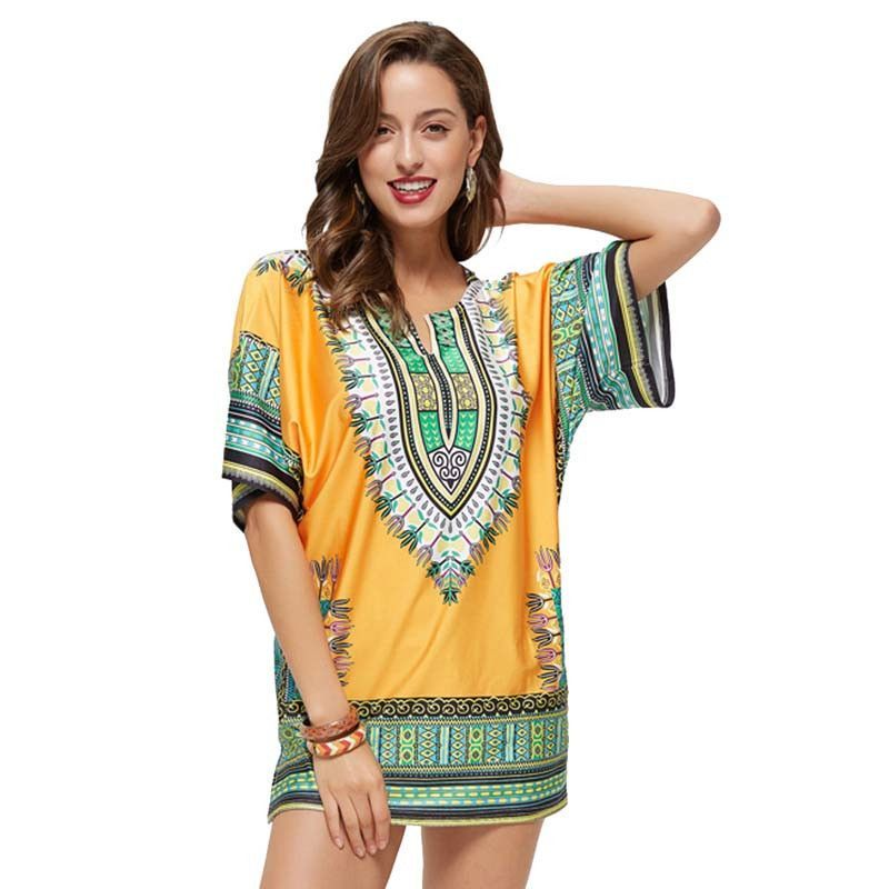 HEEGRAND Dress Vestidos Summer Dresses New Fashion Bohemian Print Straight Mini Vestido Short Sleeve O-Neck Collar WQS1705