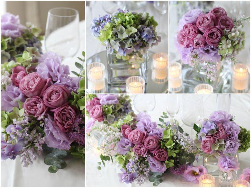 会場装花, ライラック,パープル,紫,あじさい レストランで挙げる結婚式