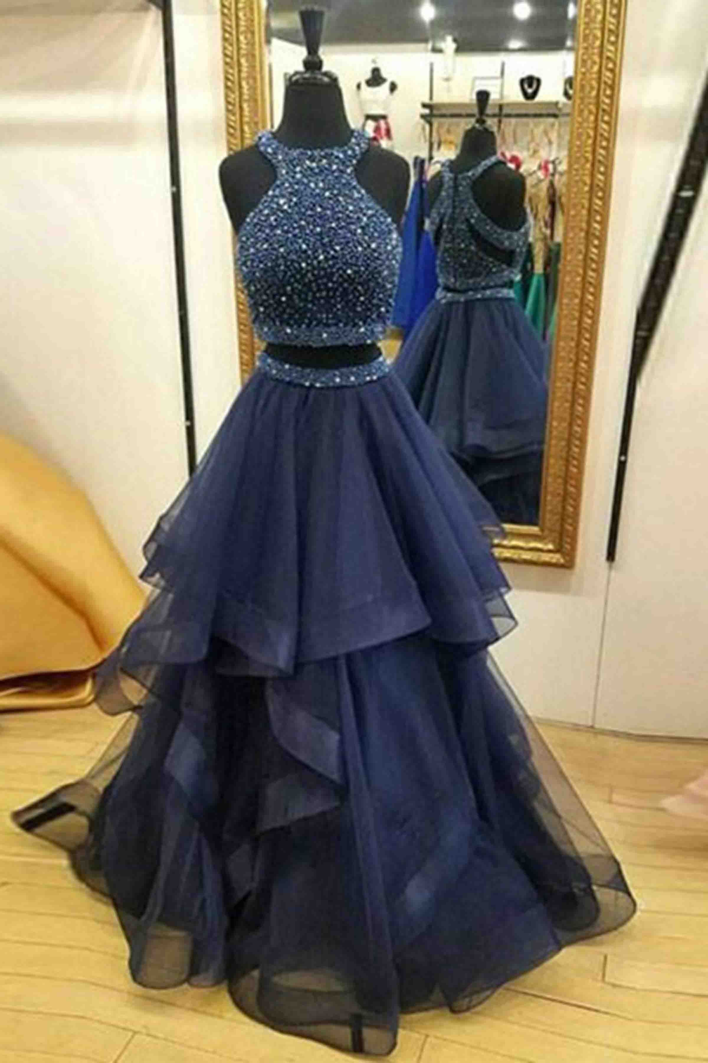 Beaded dark blue organza prom dress, two pieces prom dress, cute ...