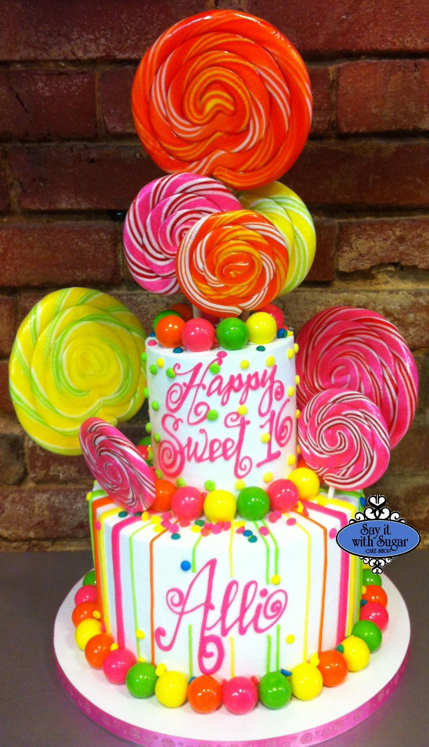 Decoration Gateau Originale Candy Themed Cake Too Many Suckers Cakes Pinterest