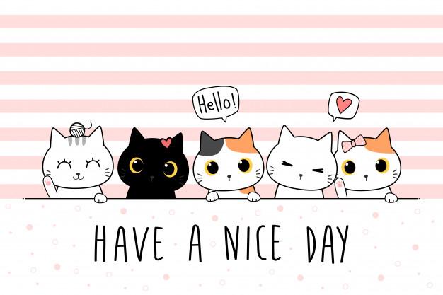 Cute Cat Kitten Family Greeting Cartoon Doodle Wallpaper