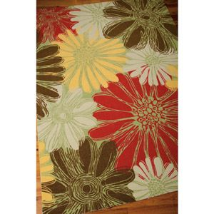 love this patio rug Nourison Home and Garden Polyester Rug, Green
