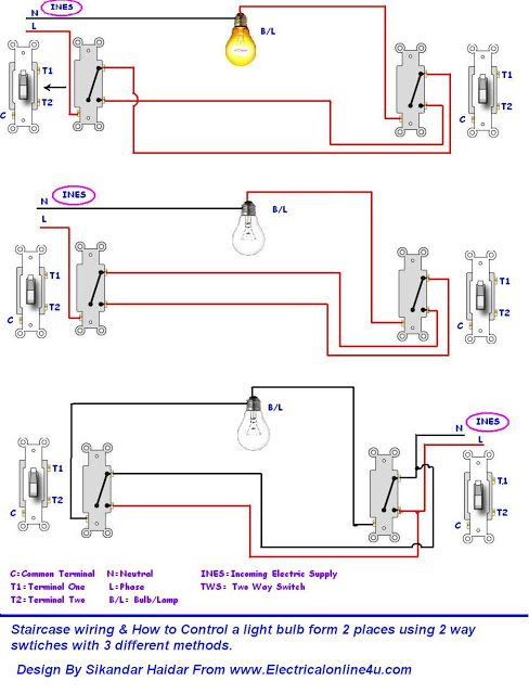 3 Different Method Of Staircase Wiring With Diagram And Complete Staircase Circuit Guide Home Electrical Wiring Light Switch Wiring Electrical Wiring