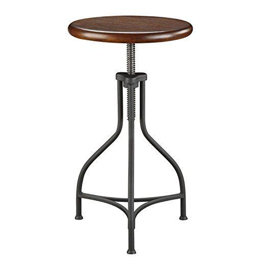 Awesome Carolina Cottage Adjustable Logan Metal Stool With Wood Seat Evergreenethics Interior Chair Design Evergreenethicsorg