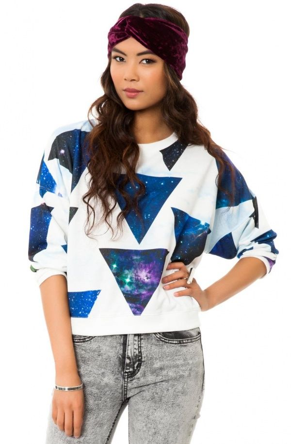 MKL Collective Women's Atmosphere Crewneck Sweater in White with Blue and Purple Galaxy Geometric Print