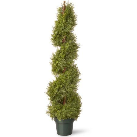 National Tree 48 inch Juniper Slim Spiral with Green Pot
