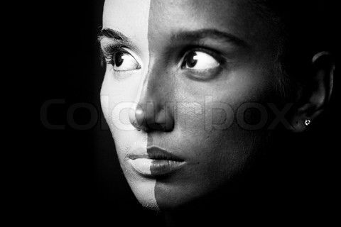 Image of 'Vogue style portrait of a woman with b&w makeup' on Colourbox