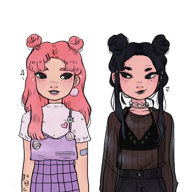Fav Sisters Amp Space Buns Illustration Fanart