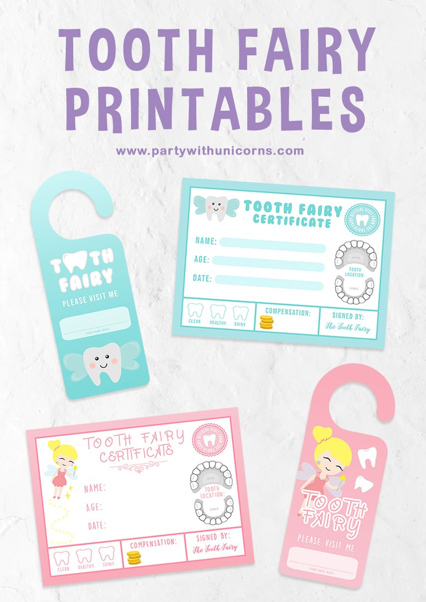 Tooth Fairy Free Printables | | Party with Unicorns #toothfairyideas