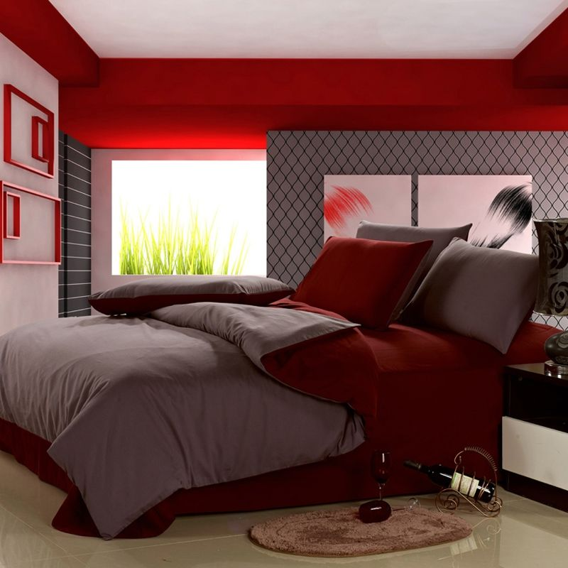 Gray And Red Colored 100% Cotton Bedding Sets