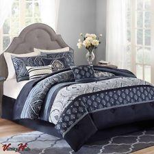 King Size Navy Blue Grey Paisley 7 Piece Bedding Comforter Set
