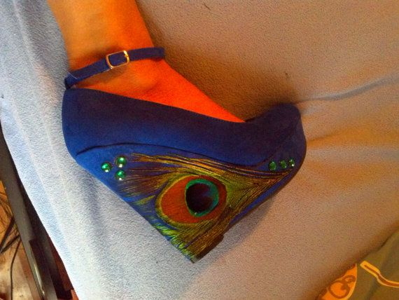 Royal Blue Peacock Wedges size 7 by ViciousElegance on Etsy, $65.00